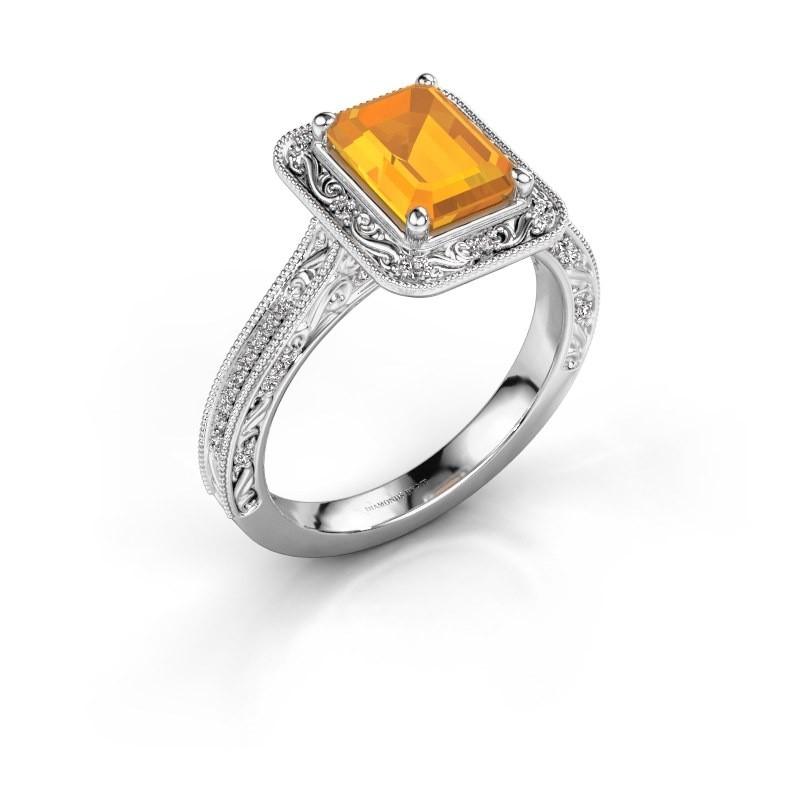 Verlovings ring Alice EME 950 platina citrien 7x5 mm