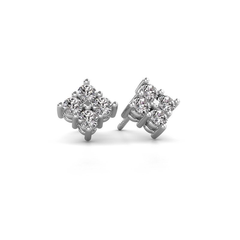 Oorstekers Maryetta 585 witgoud diamant 0.80 crt