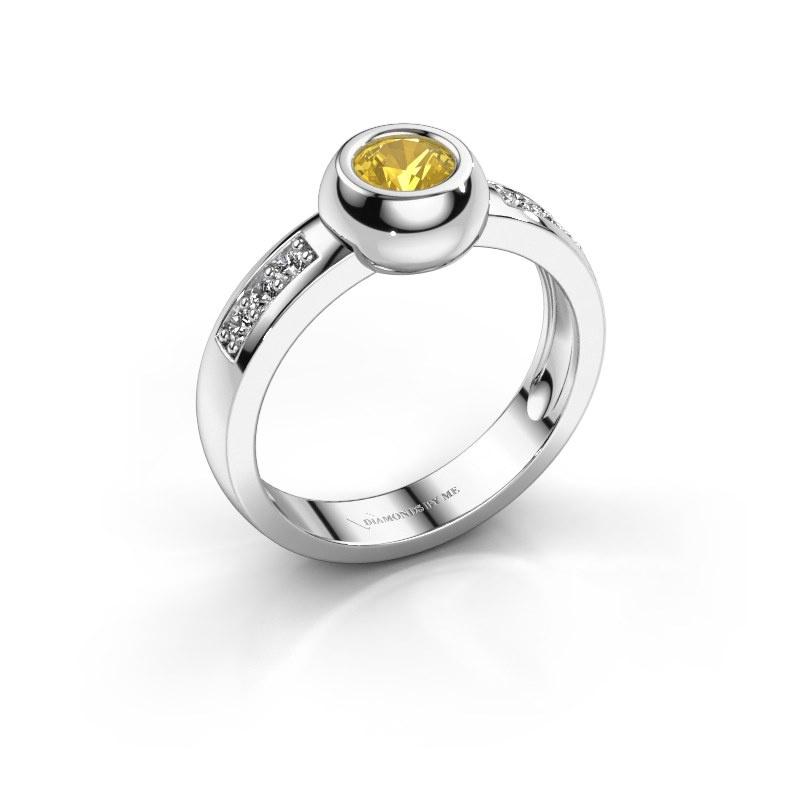 Ring Charlotte Round 585 witgoud gele saffier 4.7 mm