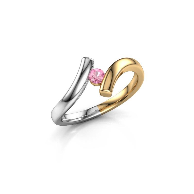 Ring Amy 585 goud roze saffier 3 mm