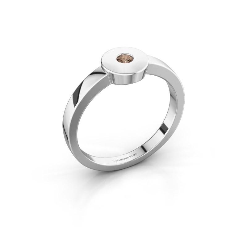 Bague Elisa 950 platine diamant brun 0.10 crt