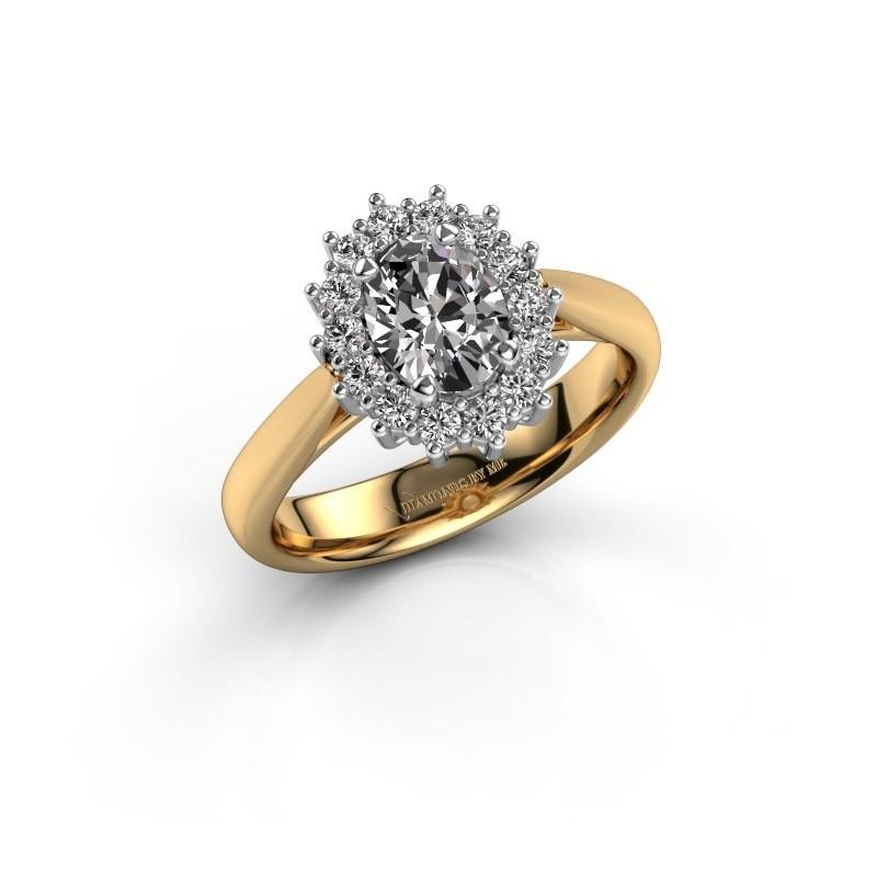 Verlovingsring Margien 1 585 goud zirkonia 7x5 mm
