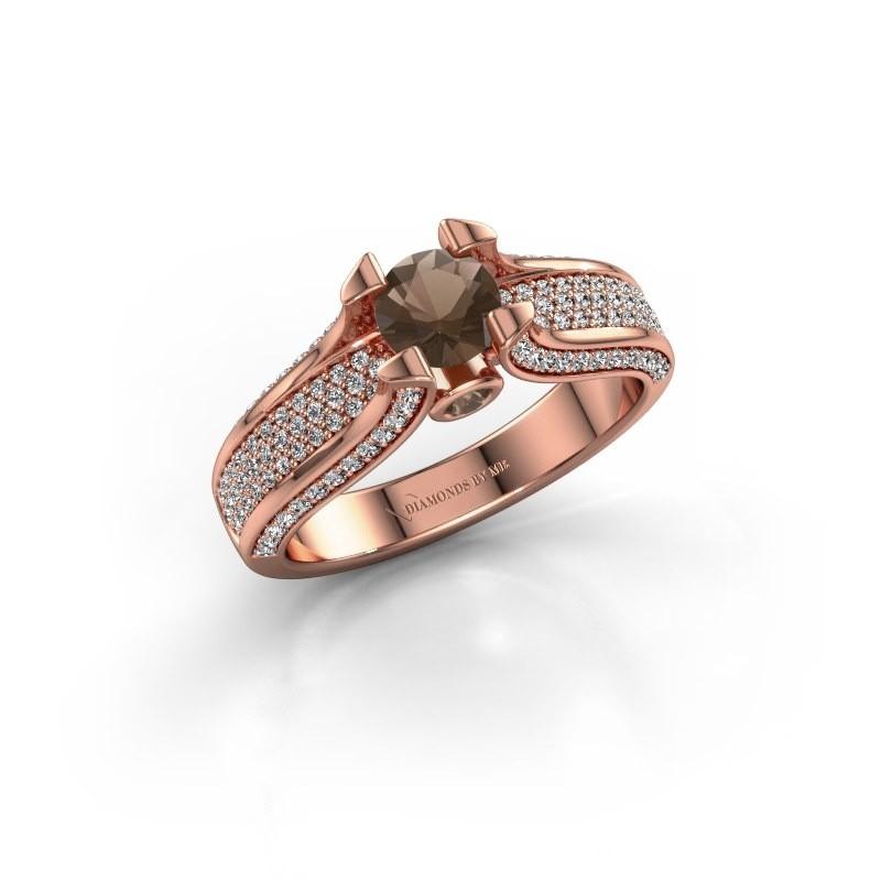 Verlovingsring Jeanne 2 375 rosé goud rookkwarts 5 mm
