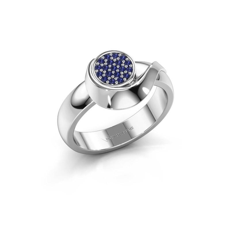 Ring Kimber 950 platina saffier 1 mm