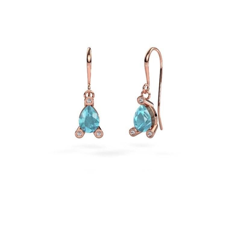 Pendants d'oreilles Bunny 1 375 or rose topaze bleue 7x5 mm