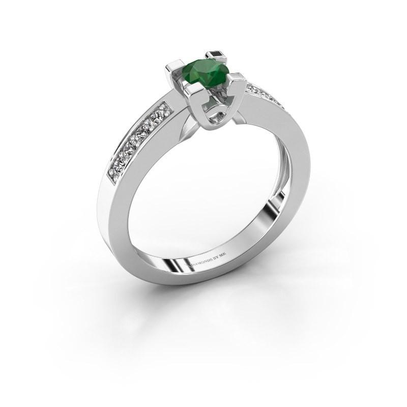Verlovingsring Nina 2 925 zilver smaragd 4.2 mm