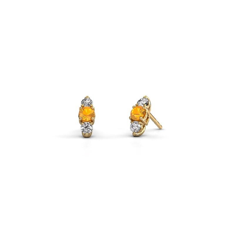 Oorbellen Amie 375 goud citrien 4 mm
