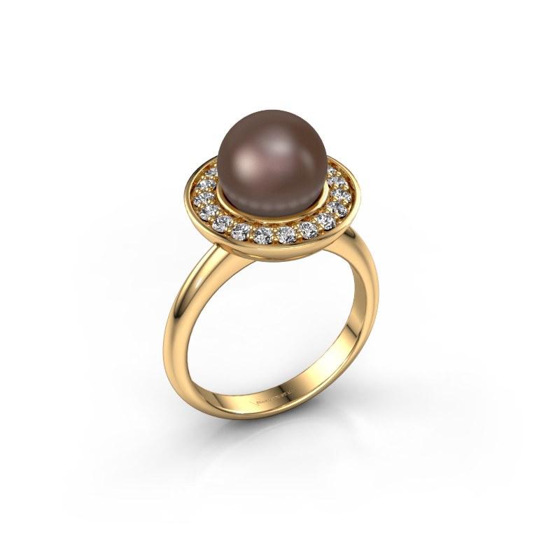 Ring Sarah 585 goud bruine parel 9 mm