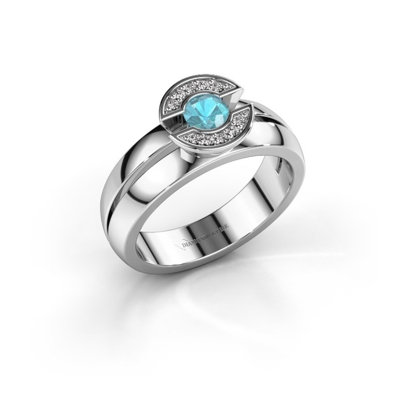 Ring Jeanet 1 585 witgoud blauw topaas 4 mm