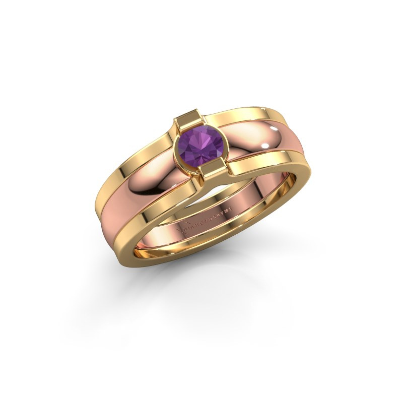 Ring Jade 585 rose gold amethyst 4 mm