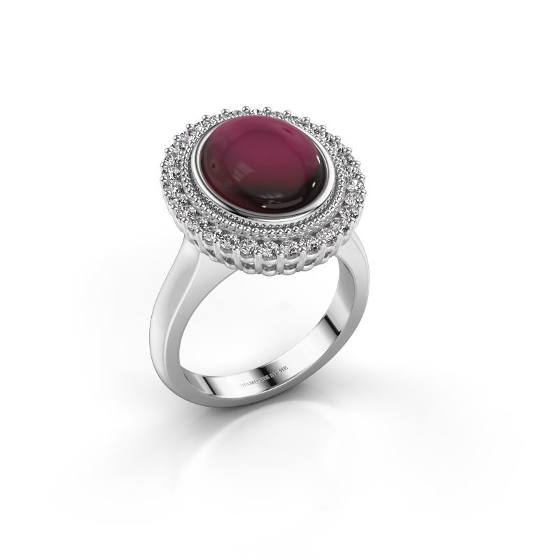 Ring Mila 925 silver garnet 12x10 mm
