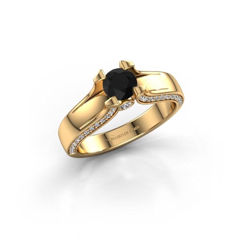 Bague de fiançailles Jeanne 1 375 or jaune diamant noir 0.920 crt