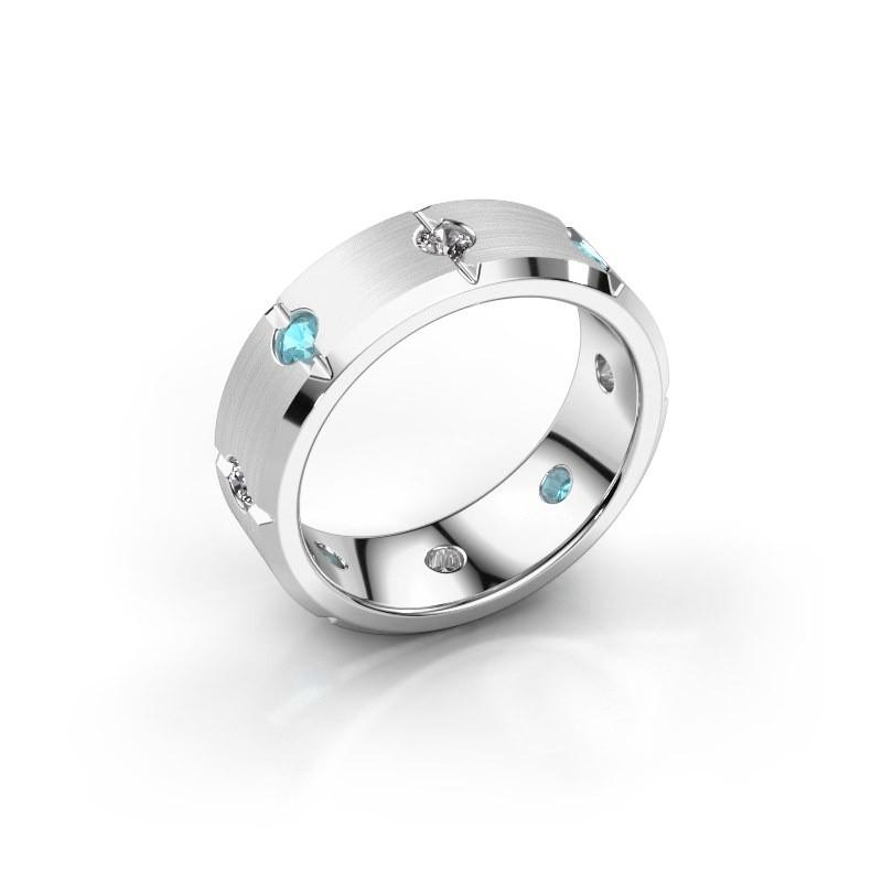 Herren ring Irwin 925 Silber Blau Topas 2.7 mm