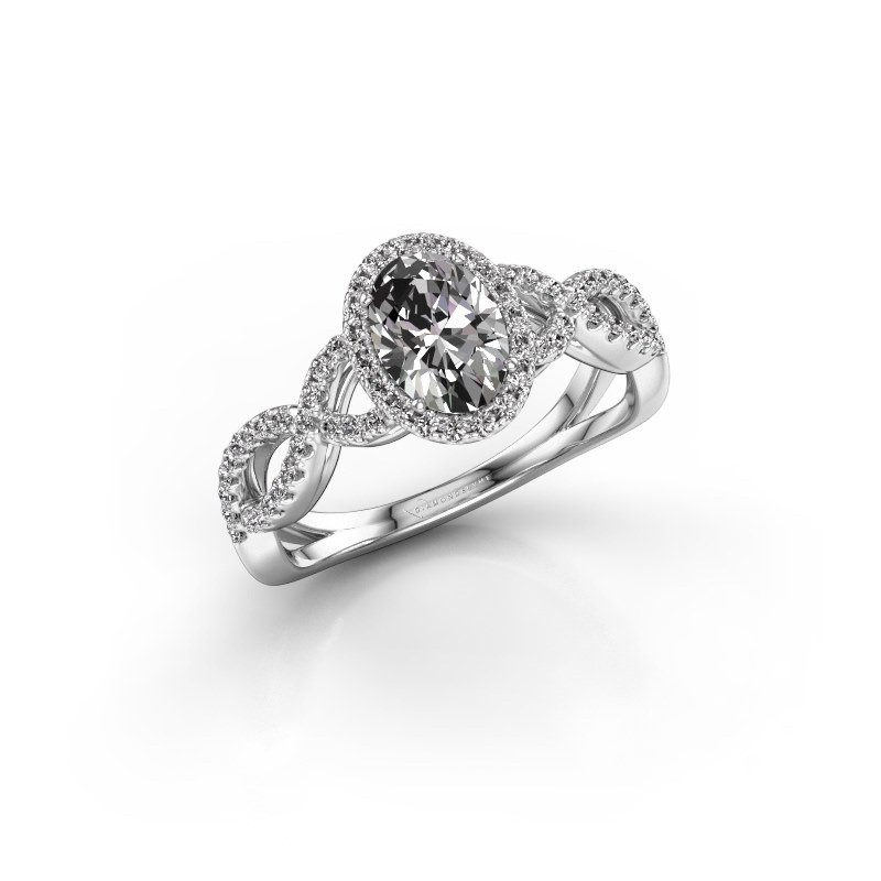 Engagement ring Dionne ovl 585 white gold zirconia 7x5 mm
