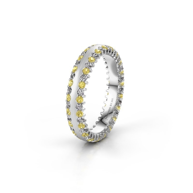 Wedding ring WH2139L24B 585 white gold yellow sapphire ±4x2 mm