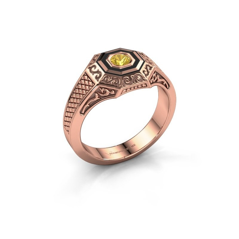Men's ring Dion 375 rose gold yellow sapphire 4 mm