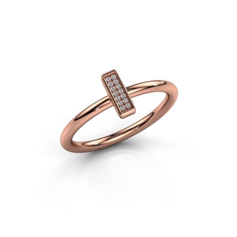 Ring Shape stripe small 375 rosé goud lab-grown diamant 0.035 crt