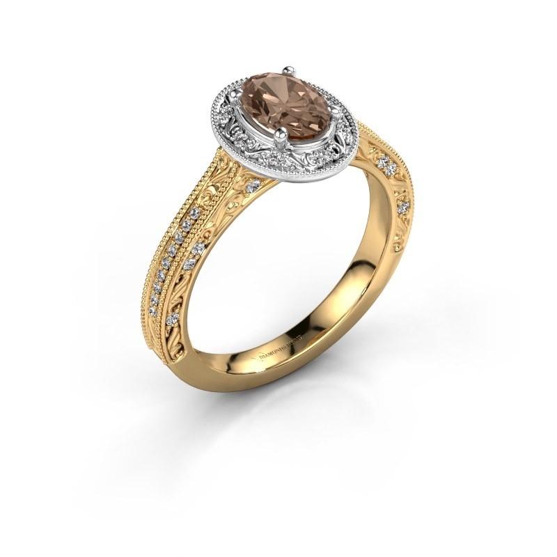 Verlovingsring Alice OVL 585 goud bruine diamant 0.905 crt