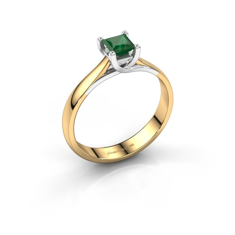 Verlobungsring Mia Square 585 Gold Smaragd 4 mm