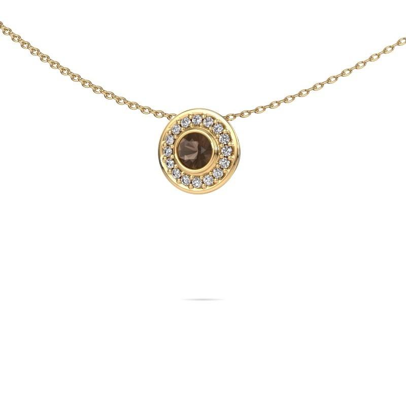 Ketting Gretta 375 goud rookkwarts 4 mm