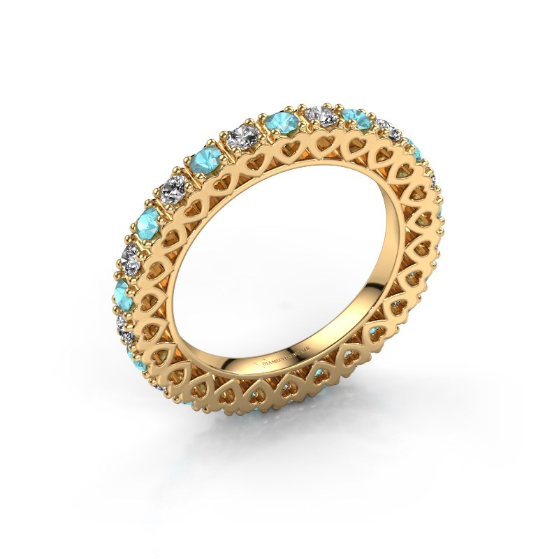 Stackable ring Hailey 585 gold blue topaz 2.2 mm