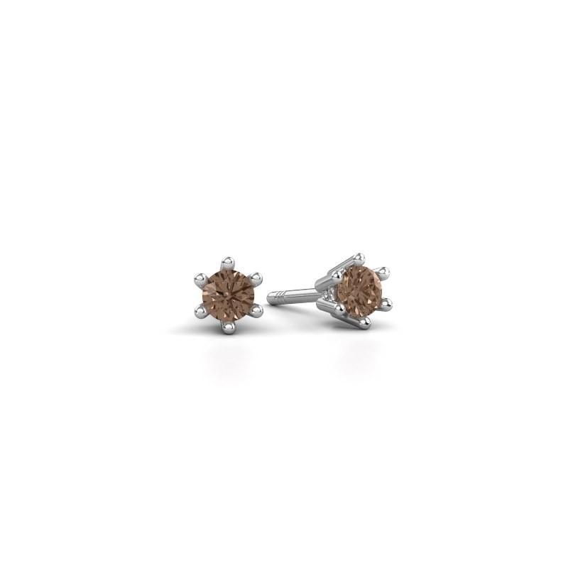 Oorbellen Fay 585 witgoud bruine diamant 0.15 crt