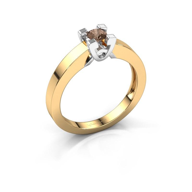 Verlovingsring Nina 1 585 goud bruine diamant 0.20 crt