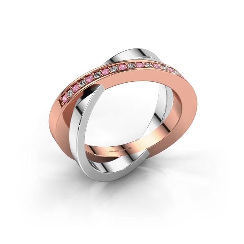 Ring Julie 585 rosé goud roze saffier 1.2 mm