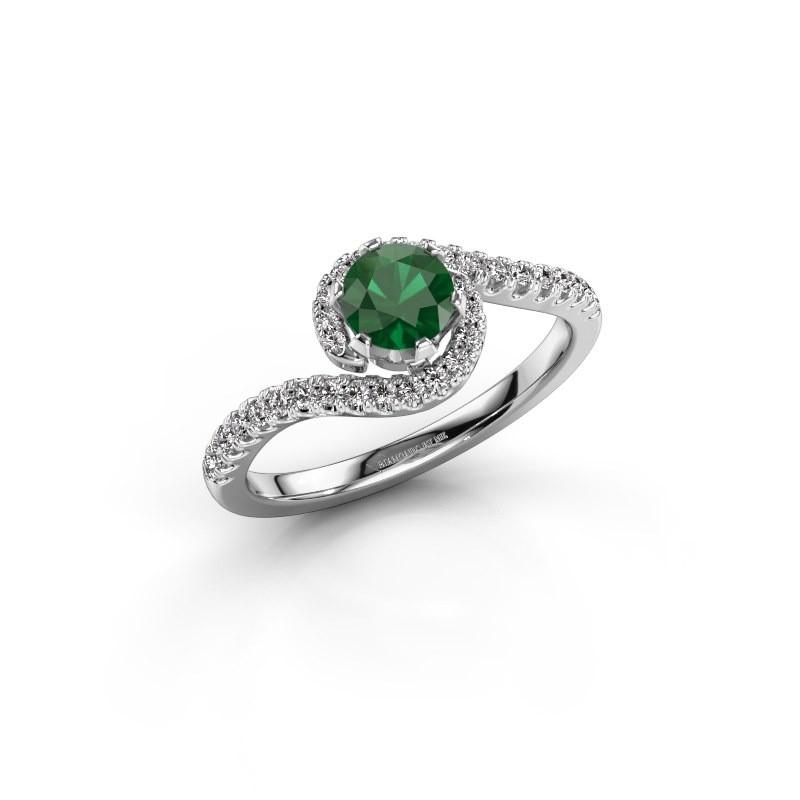 Engagement ring Elli 950 platinum emerald 5 mm