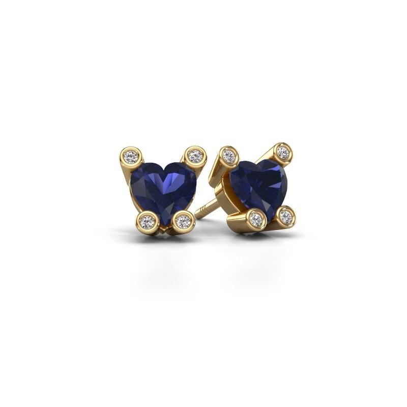 Oorstekers Cornelia Heart 585 goud saffier 6 mm