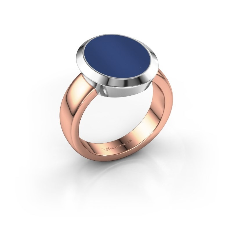 Zegelring Oscar 4 585 rosé goud lapis lazuli 15x12 mm