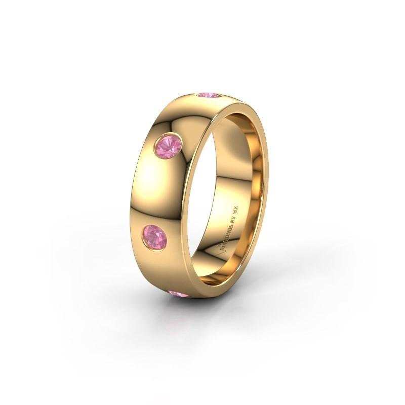 Wedding ring WH0105L26BP 375 gold pink sapphire ±6x2 mm