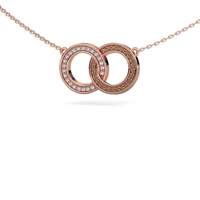 Ketting Circles 1 375 rosé goud bruine diamant 0.23 crt
