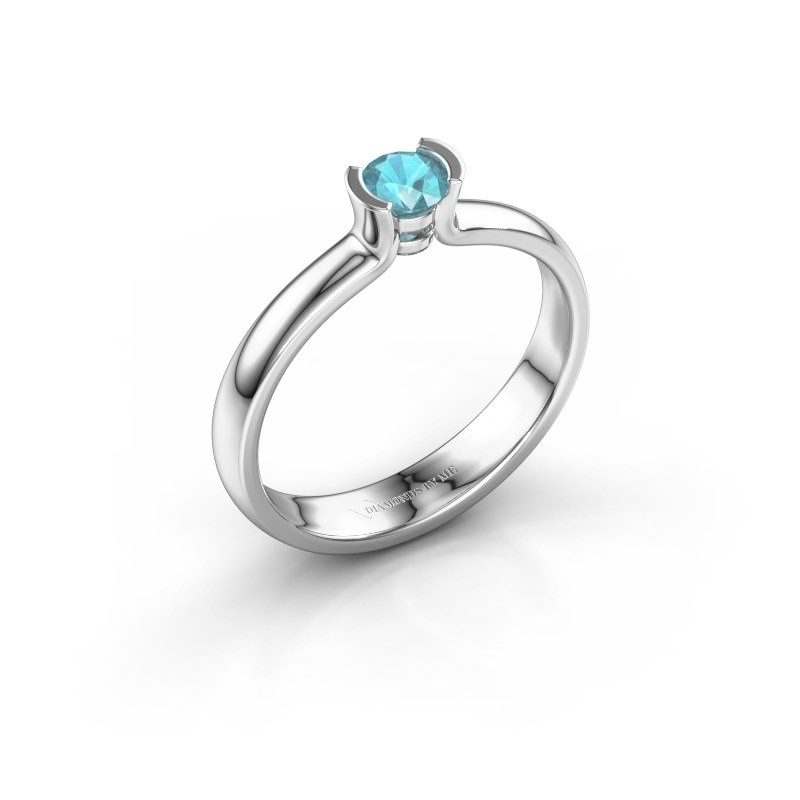 Engagement ring Ophelia 925 silver blue topaz 4 mm