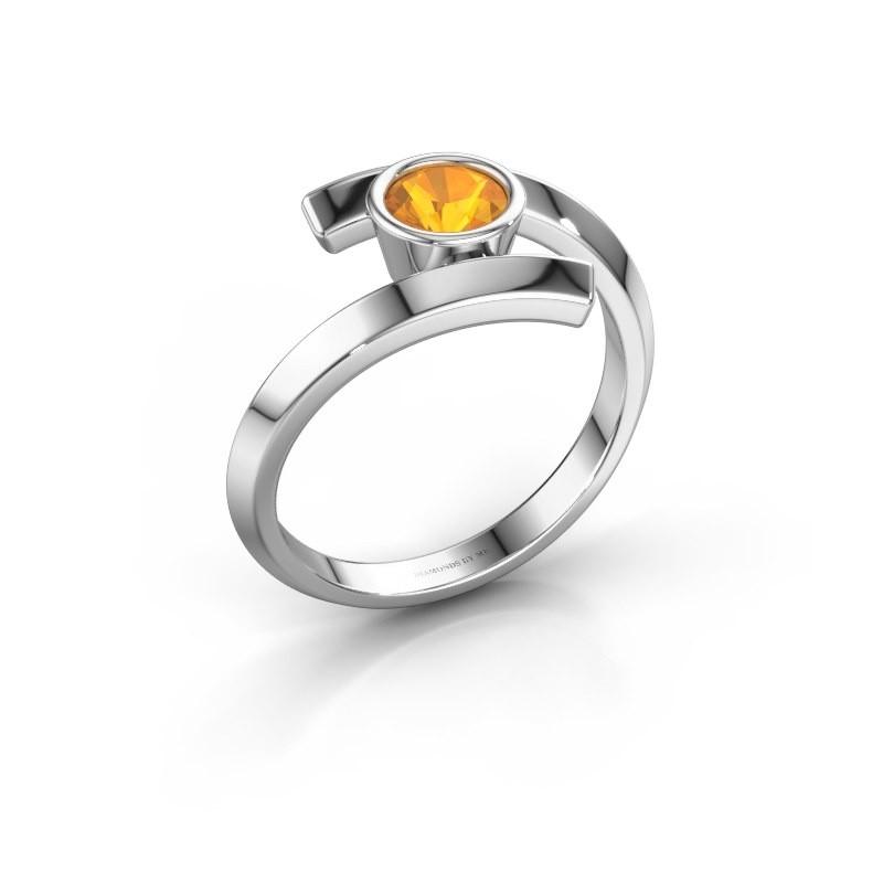 Ring Mara 585 witgoud citrien 5 mm