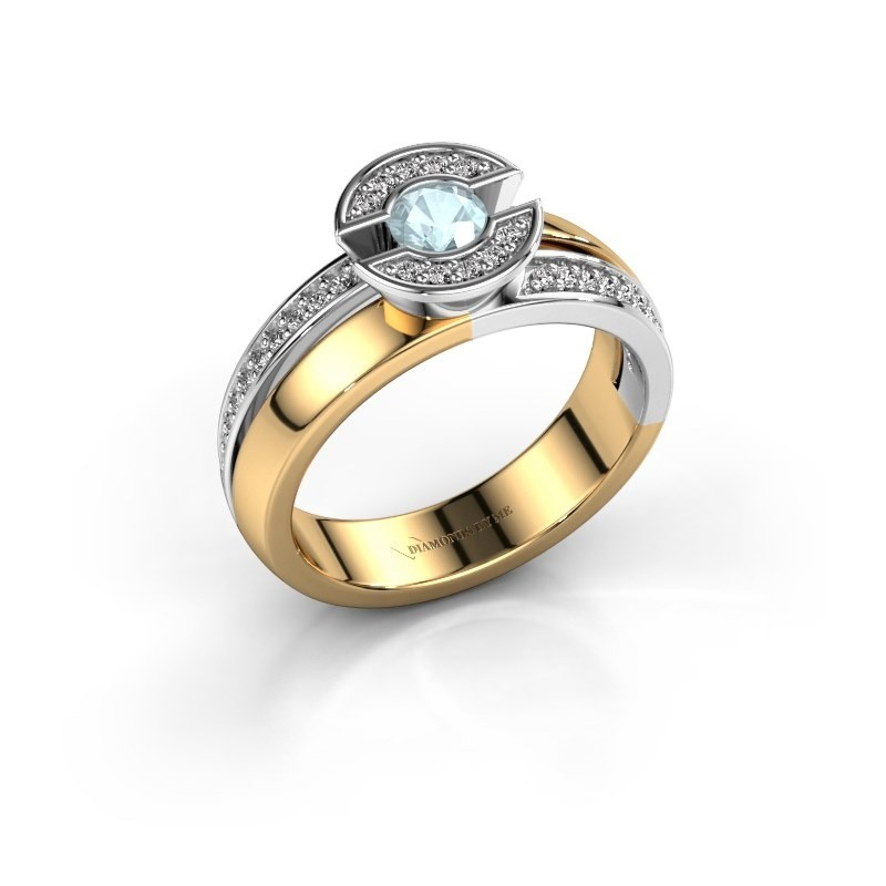 Ring Jeanet 2 585 goud aquamarijn 4 mm