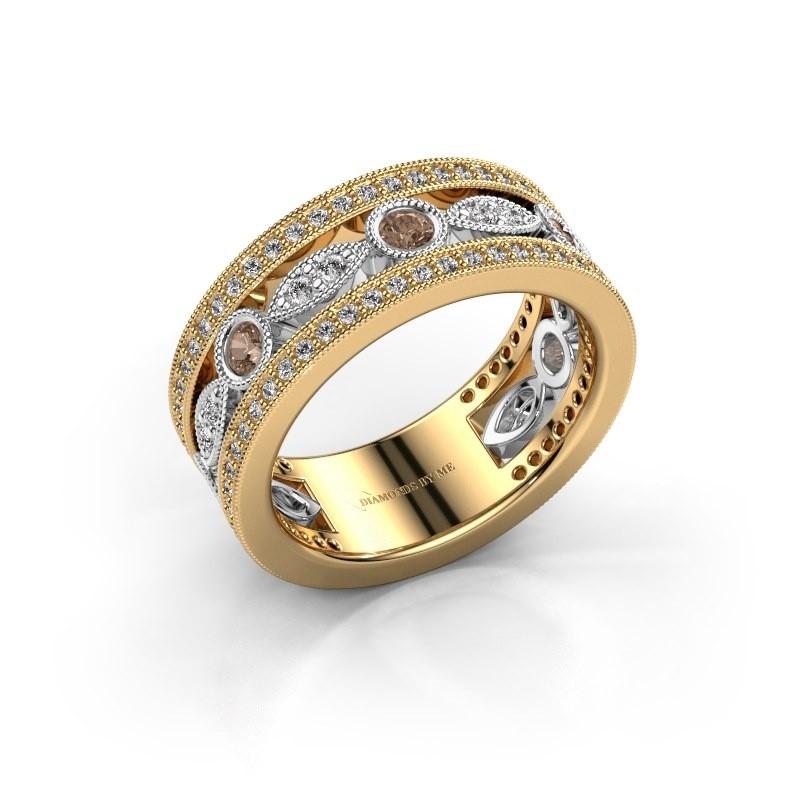 Ring Jessica 585 goud bruine diamant 0.864 crt