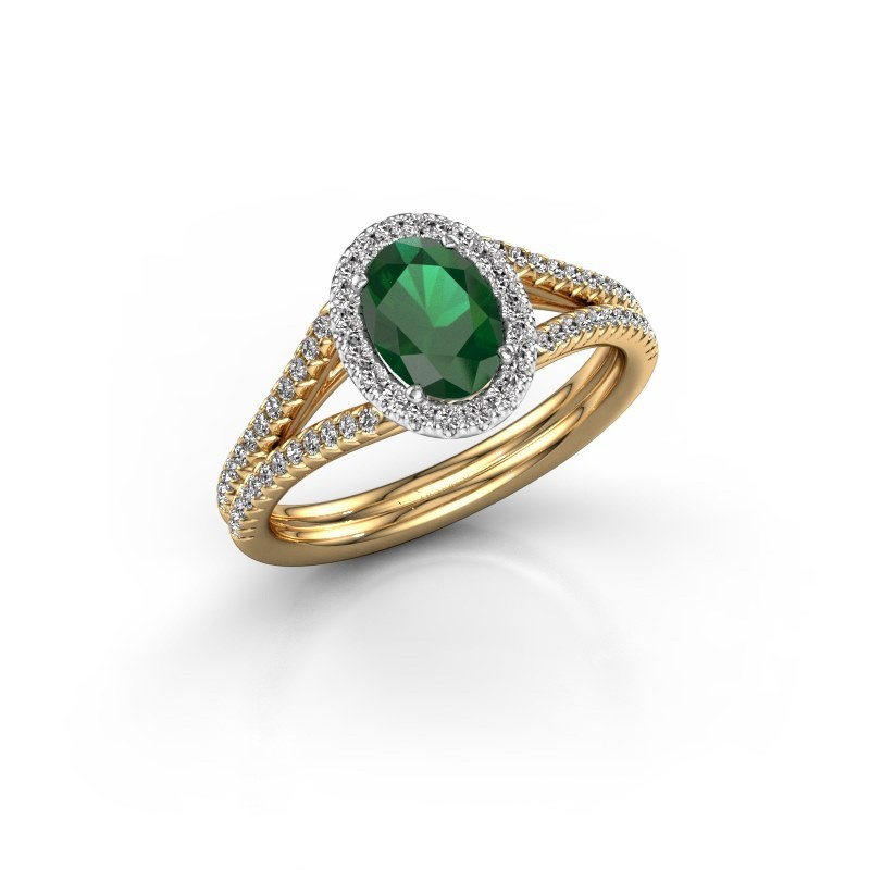 Engagement ring Verla ovl 2 585 gold emerald 7x5 mm
