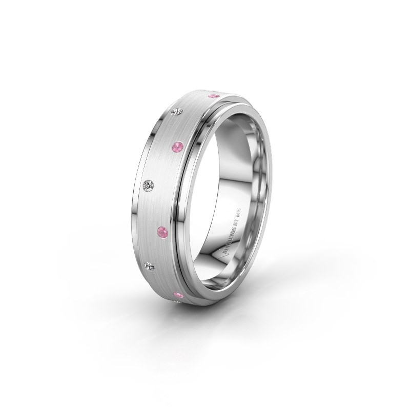 Trouwring WH2134L 925 zilver roze saffier ±6x2.2 mm