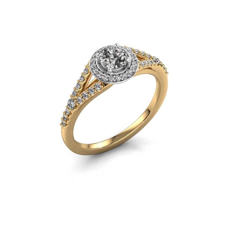 Bague de fiançailles Pamela RND 585 or jaune diamant 0.577 crt