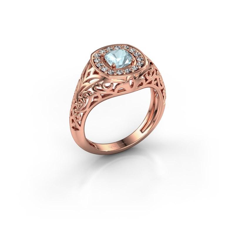 Men's ring Quinten 375 rose gold aquamarine 5 mm