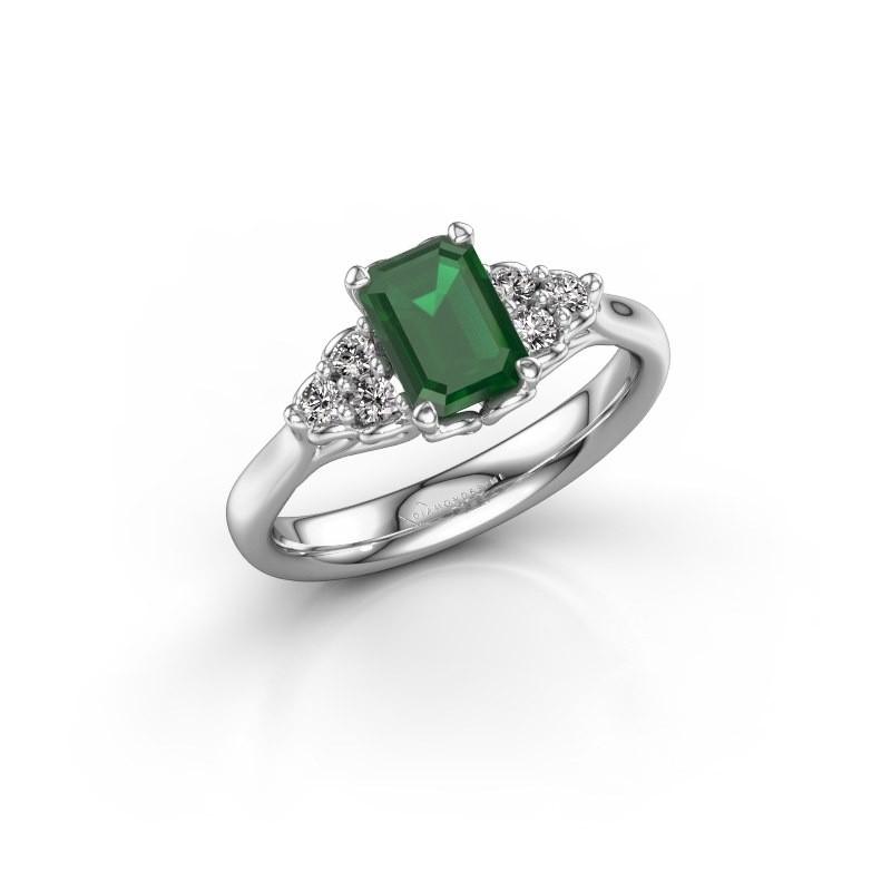 Aanzoeksring Myrna EME 585 witgoud smaragd 7x5 mm
