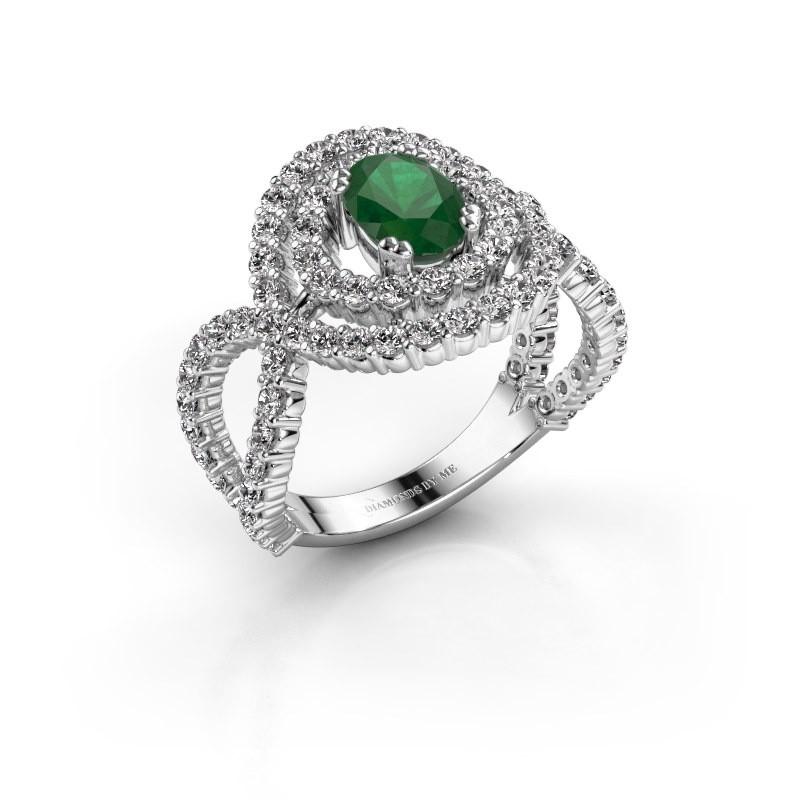 Ring Chau 585 witgoud smaragd 7x5 mm