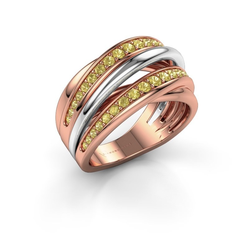 Ring Marylouise 2 585 rose gold yellow sapphire 1.2 mm