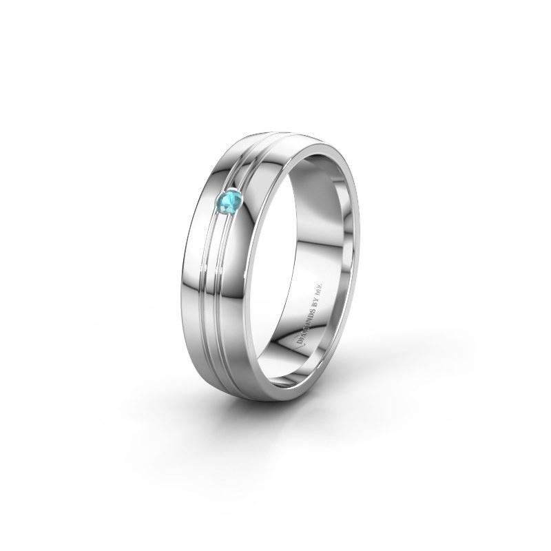 Trouwring WH0420L25X 925 zilver blauw topaas ±5x1.5 mm