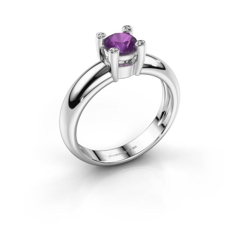 Ring Fleur 585 witgoud amethist 4.7 mm