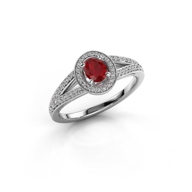 Verlovings ring Angelita OVL 585 witgoud robijn 6x4 mm