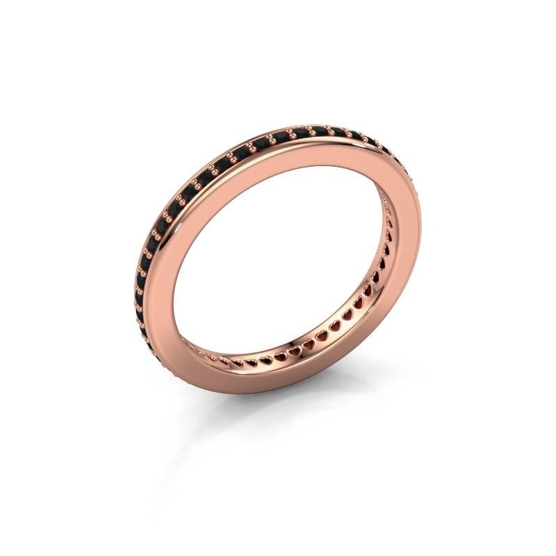 Aanschuifring Elvire 2 375 rosé goud zwarte diamant 0.414 crt