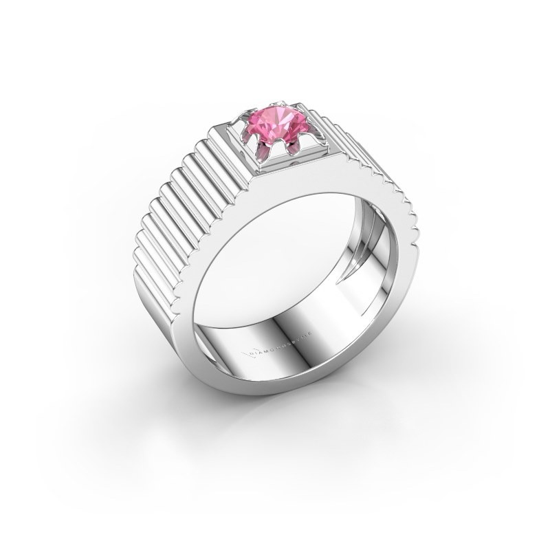 Pink ring Elias 585 witgoud roze saffier 5 mm