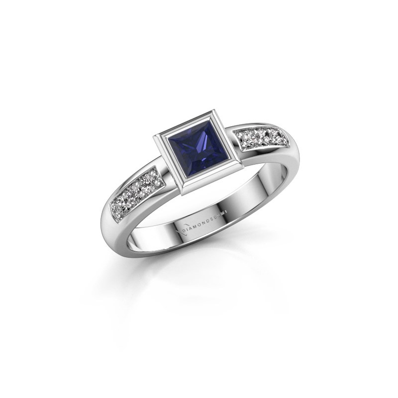 Stacking ring Lieke Square 925 silver sapphire 4 mm